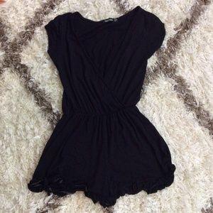 BOOHOO Black Ruffle Short Sleeve Soft Romper